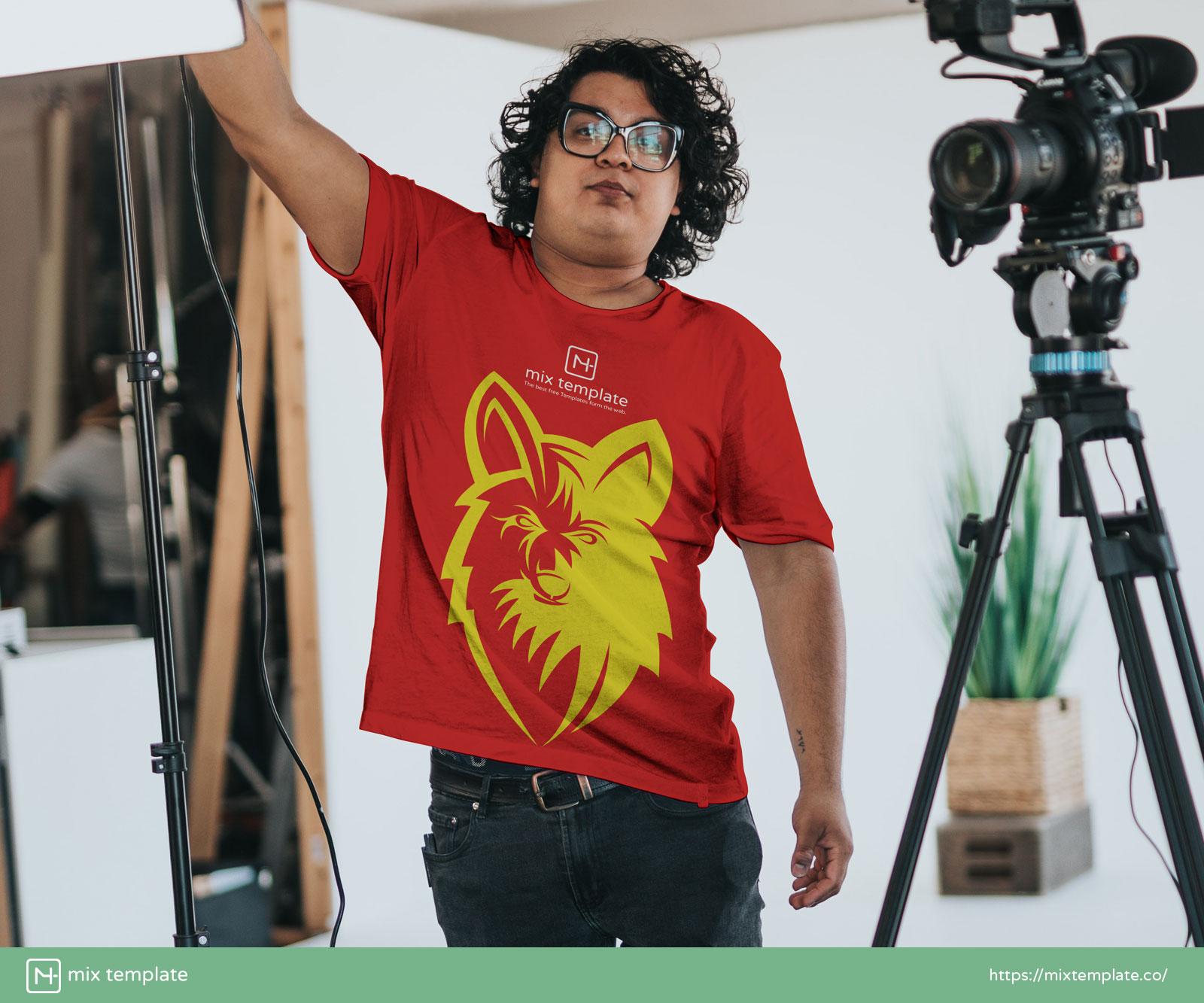 Free-Camera-Man-White-T-Shirt-Mockup-Template-38