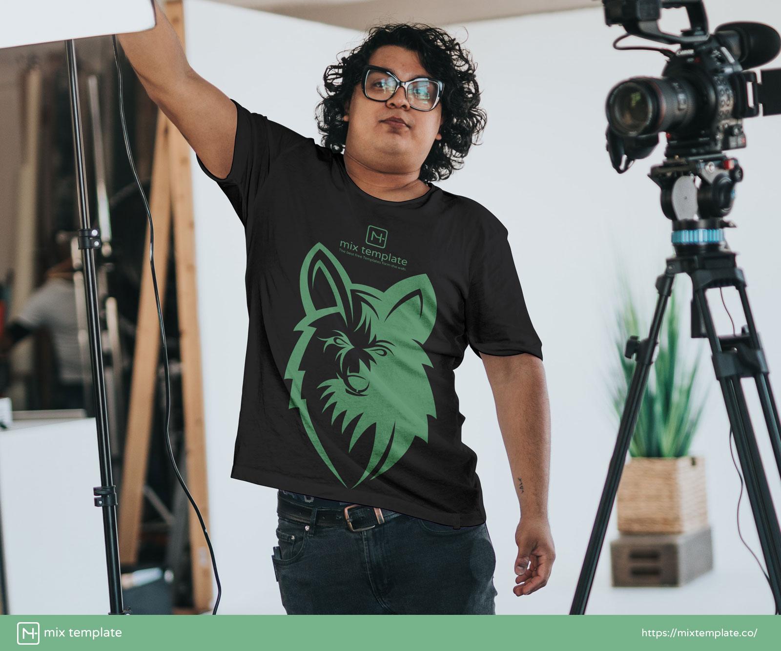 Free-Camera-Man-White-T-Shirt-Mockup-Template