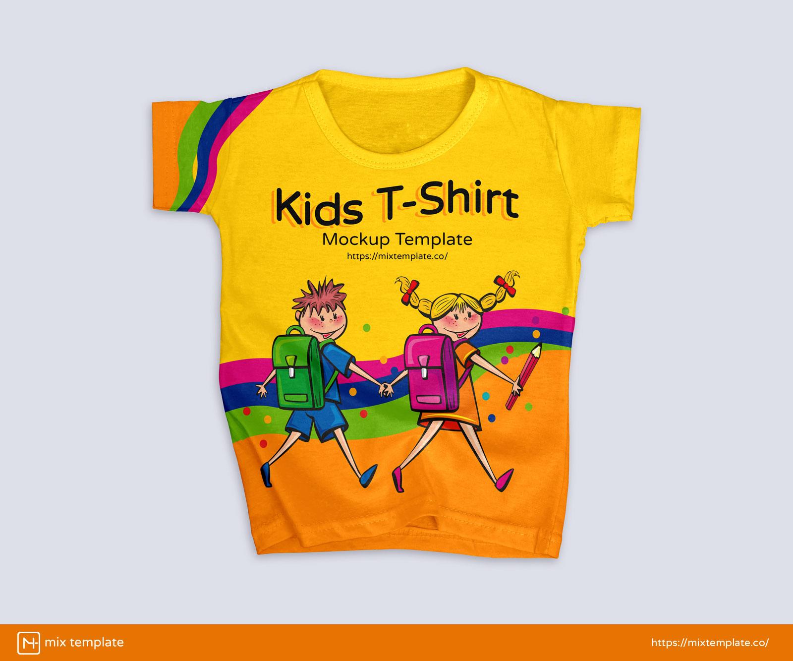 Free-Modern-Kids-T-Shirt-Mockup-Template